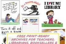 Free printables for teachers, librarians and homeschoolers / Free print-ready PDFs for teachers, librarians, booksellers and parents created by Debbie Ridpath Ohi. Some are related to Debbie's book projects while others focus on literacy and encouraging young people to read.