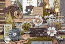 Flower Scrap Kits / Digital Scrapbooking kits available for sale at the Studio