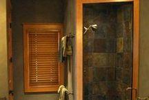 "Main Bath-Boys bath / Oak cabinets, bronze fixtures, ""river"" theme. Neutral earth tones. / by Courtney Prihoda"
