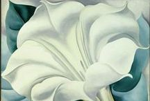 """Art of Georgia O'Keeffe / """"I found I could say things with color and shapes that I could not say any other way - things I had no words for.""""                                                 """"Nobody sees a flower, really, it is so small - we haven't time, and to see takes time.""""                                   By: Georgia O'Keefe"""