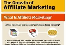 Affiliate Marketing / Board with infographics, information, articles about affiliate marketing, referral marketing