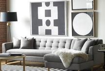 Gray Skies Home Decor / Soothing home decor in gray.  Gray vases, gray linens, gray coral sculptures, gray pillows, gray mirrors, gray rugs, gray chandeliers, gray garden stools and gray totes bags.