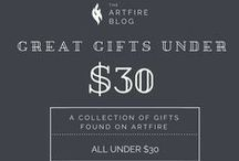 Great Gifts Under $30 on ArtFire / A selection of gift ideas and fantastic products, all found on ArtFire, and all under $30. The perfect gift for anyone on your holiday or birthday lists can be found right here! / by Artfire.com