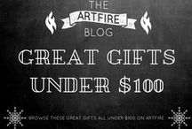 Great Gifts Under $100 - on ArtFire / Great Gift Ideas under $100 for Holidays, Birthdays, and any occasion. Fantastic finds from indie artisans and makers. Find the perfect holiday gift here.