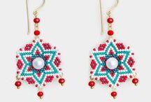 Winsome Earrings / brass earrings, beads earrings, stone earrings, gold plated earrings