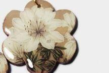 Handpainted Decoupage wooden earrings / Exclusively designed & hand painted Decoupage wooden  accessories.