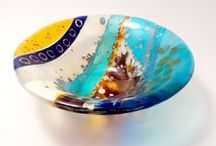 Glass bowls, plates, curves and waves by Carole Robinson / Small, medium and large fused and painted slumped glass...