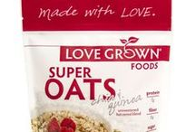 Super Oats / Love Grown Foods Super Oats is not your traditional oatmeal. Made with grains and seeds including oats, chia seeds, quinoa flakes, and amaranth flakes, these hot cereal blends pack a SUPER nutritional punch and cook in three minutes. Best of all, they are unsweetened so you can customize as you like.   Non-GMO Project Verified Certified Gluten-Free 7g protein 5g fiber 0g sugar and 0mg sodium / by Love Grown Foods