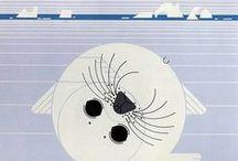 Charley HARPER / Illustrateur exemplaire du courant moderniste des années 60 aux États-Unis, Charley Harper n'avait pas son pareil pour donner aux animaux une présence indéniable alliée à une stylisation impressionnante. L'essentiel de son œuvre fut réalisé dans le cadre de revues, d'affiches ou d'ouvrages ayant trait à la nature. / by ★@nne★p@sc@le★