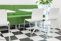 Meeting and Lounge Chairs / Modern working environments require a variety of chairs for different activities. Chairs ergonomically and esthetically designed, and flexible enough to fit in many different environments. Seating for long and short meetings, for the canteen, or just for visitors to sit down.