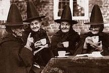 ⊱Black Hat Society⊰ / Witches, black hats, broomsticks, and cats..  / by Ashley Bullock