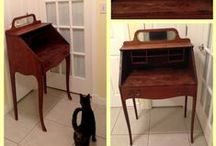 1908 Secretary Desk Before/After / I was thrilled to find this antique secretary desk on Craisglist for $40! When we took it apart to sand it, we discovered a newspaper from 1908 Indianapolis star being used as a filler between the mirror and the wood backing. Crazy, since I grew up in Indiana-what are the odds we'd find each other in Florida? The wood has stains that are impossible to fix, so painting it my favorite color, and going to leave the woodgrain for a squirrel design on the sides. Using the newspaper as a drawer liner.