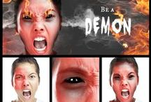Demons / Get possessed!  PicMonkey Demons is where you'll find your horns, mottled skin, piercing stare and scene stealers like fire, lightning, and one-click mood effects.