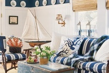 Coastal Style - Iron Accents / A sophisticated mix that draws it cues from both the French Riviera and the Northeast coast. Features include painted bead board, bold stripes, worn and weathered furnishings and collected pieces. Color palettes range from nautical hues to soft whites and neutrals with a smattering of red or charcoal. Flea market finds like portholes, tillers, floats, helms and lanyards pay homage to the setting. / by Iron Accents