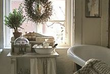 Farmhouse Cottage Bathrooms / Farmhouse bathrooms are simple and utilitarian, yet wrapped in cozy cottage warmth. A place that calms your spirit before the day even begins.