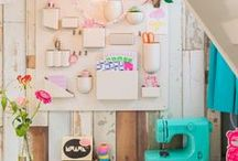 Workspace / Home office,Studio Work & Craft Room inspiration. Handy storage ideas and effective use of space