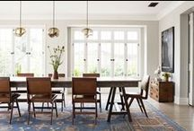 Dining / Tables, chairs, lighting, window treatments, and wallpaper all in one lovely space!