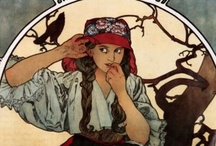 """Love Alfons Mucha! / Alfons Mucha was so unbelievably prolific! Besides being an artist he also designed jewellery and furniture, and he truly introduced commercial art with his intricately designed posters advertising merchandise, events, artists, shows, concert peformances, charitable causes, exhibitions ... you name it, Mucha designed it! There is a most fascinating """"Mucha Museum"""" in Prague, dedicated to his life and all his works - a MUST  see if you are visiting that city! / by Erica F. Viezner"""