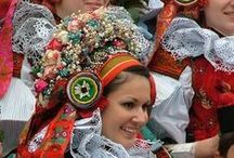 Folklore of Bohemia, Moravia and Slovakia / Wonderful elaborate designs and ornaments, painted, sewn and embroidered on national costumes, plates, jugs, walls and houses - an intricate part of traditional way of life for both Czechs and Moravians. Some Slovak costumes are shown as well, as these beautiful patterns, fabrics and laces are common to all. / by Erica F. Viezner