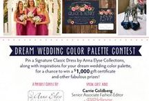 Dream Wedding Color Palette Contest / Pin a Signature Classic Dress by Anna Elyse Collections, along with inspirations for your dream wedding color palette, for a chance to win a $1,000 gift certificate and other fabulous prizes! Contest ends on June 30, 2015. Grand Prize Winner will be announced on July 7, 2015. Go to https://annaelyse.com/DreamWedding for rules and details.