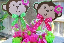 Mod Monkey Birthday Party Ideas for Girl / Pink & Green Mod Monkey Birthday Party Ideas