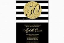 Black and Gold Birthday Party Invitations / Our Black and White stripe invitation with a faux Gold glitter circle with the age. This is a gender neutral design and it they can be personalized for any age.