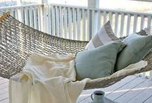 Coastal Hammocks / Is there anything better than feeling a gentle breeze brush your cheek, as you swing back and forth on a hammock overlooking the beach. No matter how comfy your hammock, it always calls out for a regular or oversized cushion or pillow to add that extra layer of comfort to your coastal inspire daydream! www.theprojectcottage.com