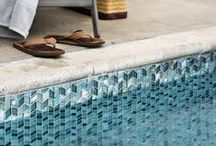 Pool Tile / Beautiful options for designing a gorgeous pool or water feature with sustainable glass tile.