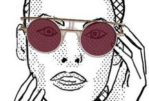 My work: illustration eyewear, portraits / Faces, portraits, eyewear, black and white, illustration, drawing, driftwood, ink on paper, fashion