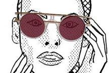 My work: illustration eyewear, portraits / Faces, portraits, eyewear, black and white, illustration, drawing, driftwood, ink on paper, fashion