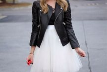 Leather jacket and skirts