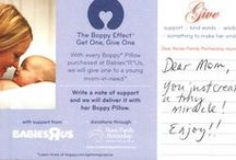 """Get One, Give One Postcards / For every Boppy Pillow purchased at Babies""""R""""Us during the month of May, The Boppy Company will give one to a mom-in-need through Nurse-Family Partnership.   Every Boppy Pillow donated includes a postcard written by YOU! These are notes of love and support and we'd love for you to read and share them!   Learn more at: http://www.boppy.com/getonegiveone/"""