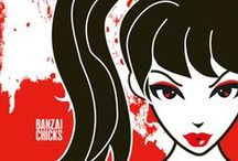 Banzai Chicks - Girl Power!!!! / This is a board dedicated to Banzai Chicks, a group of martial arts girls that inspire girls to achieve their dreams. Visit www.banzaichicks.com! You can see my banzai chicks artwork and merchandise (including t-shirts, handmade jewlery, interchangeable magnetic rings and necklaces with my cute banzai chicks characters and magnets).