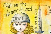 Armor of God Cards and Tracts / Put on the full armor of God so that you can take your stand against the devil's schemes.    Stand firm then, with the belt of truth buckled around your waist, with the breastplate of righteousness in place, and with your feet fitted with the readiness that comes from the gospel of peace.  This simple flip card by Memory Cross helps children learn this verse.  For 2013 Answers in Genesis Chronicles VBS is using this as their central verse.  http://www.memorycross.com/armor-of-god/