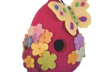 Fair Trade Felt Bird House / These are some of the most unique #birdhouses we've ever seen. #Handmade with #Love from Tibet.  Profits and proceeds from this item will go back to the artist and to an orphanage and medical clinic in Dominican Republic.                                                                               Visit *** Giftsof.com *** or *** https://www.etsy.com/shop/MemoryCross ***