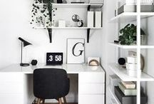 Office | Home Decor / Home Office Decor | Organized Office | Black and White | Monochrome | Design Ideas and Inspiration for your House