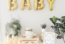 Baby Shower | Events / Gold Baby Shower | Mom to Be Styled Party | Themed Baby Shower Ideas | Unique Party Decor | Balloon Garland | Bump Party