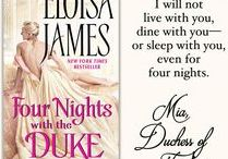 Four Nights with the Duke / As a young girl, Emilia Gwendolyn Carrington told the annoying future Duke of Pindar that she would marry any man in the world before him—so years later she is horrified to realize that she has nowhere else to turn. Evander Septimus Brody has his own reasons for agreeing to Mia's audacious proposal, but there's one thing he won't give his inconvenient wife: himself. Instead, he offers Mia a devil's bargain… he will spend four nights a year with her. And those only when she begs for them.