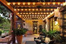 Patio, Bistro, and Garden Lighting / Stay informed on the latest tips and designs for lighting outdoor spaces.  Whether it is your garden, backyard, courtyard, or any outdoor space see the latest trends on how to create a warm inviting space.  A great place to gather ideas on how to hang patio bulbs and garden lights.