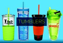 Promotional Tumblers / Promotional tumblers earn a prominent spot in the lives of a multitude of users. Whether it's for your morning coffee or some supper time wine, a tumbler custom printed with your logo is one of the most efficient ways of getting some on-the-go brand promotion. One of the most frequently used promotional items available, your promotional tumblers are sure to impress!