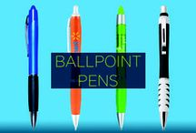 Promotional Ballpoint Pens / Sharpen your brand's reach with a sleek promotional ballpoint pen. A smart look, comfortable grip, and bold colors, along with clear branding make writing a pleasure. Easily impress your customers and brighten their day with a useful, branded pen.