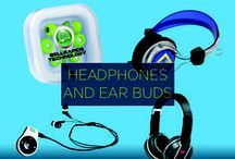 Promotional Headphones / Listen up! Amplify your brand reach and awareness with custom promotional headphones and earbuds. With styles and colors to satisfy your customers, they can carry your brand message far and wide - AND loud and clear!