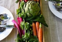 Brunch Ideas - Vegetable Centerpieces & Drinks  / Ideas for a late summer brunch with #vegetables centerpieces market style