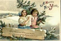 Vintage New Year / Antique and vintage New Year postcards, ephemera and printables