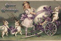 Vintage Easter / Antique and vintage Easter postcards, ephemera and printables. Bunnies, rabbits, chicks, Easter eggs