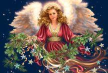 Christmas | Dona Gelsinger / Artworks by Dona Gelsinger. Angels, animals, birds, Christmas, family and love