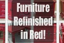 Red Refinished Furniture / Furniture painted Red, with glaze and distressing adding to the great upstyled look of this color on vintage furniture. Featuring all our favorites from Facelift Furniture, with hopes to inspire your next DIY project!