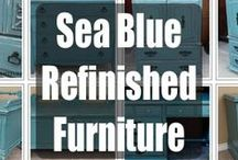 Sea Blue Refinished Furniture / Furniture painted Sea Blue, with glaze and distressing adding to the great upstyled look of this color on vintage furniture. Featuring all our favorites from Facelift Furniture, with hopes to inspire your next DIY project!