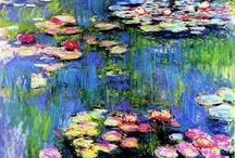 "Claude Monet / Claude Monet was born on November 14, 1840, in Paris, France. He enrolled in the Academie Suisse. After an art exhibition in 1874, a critic insultingly dubbed Monet's painting style ""Impression,"" since it was more concerned with form and light than realism, and the term stuck. Monet struggled with depression, poverty and illness throughout his life. He died in 1926. / by Tomás Ribas"