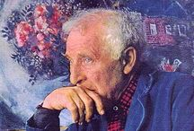 Marc Chagall / Marc Chagall was a Russian-Jewish artist and writer in Yiddish and developed his highly original style by blending elements of traditional Jewish culture with cutting-edge innovations in modern art.   From 1910-1914 he lived in Paris. During those four years in Paris he witnessed the emerging new styles of Fauvism, Cubism, Surrealism and various avant-garde currents being created by Henri Matisse, Pablo Picasso and Georges Braque, as well as other leading artists of the time.   / by Tomás Ribas